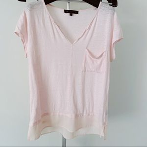 Sanctuary (Anthropologie) Layered Linen Pink Tee